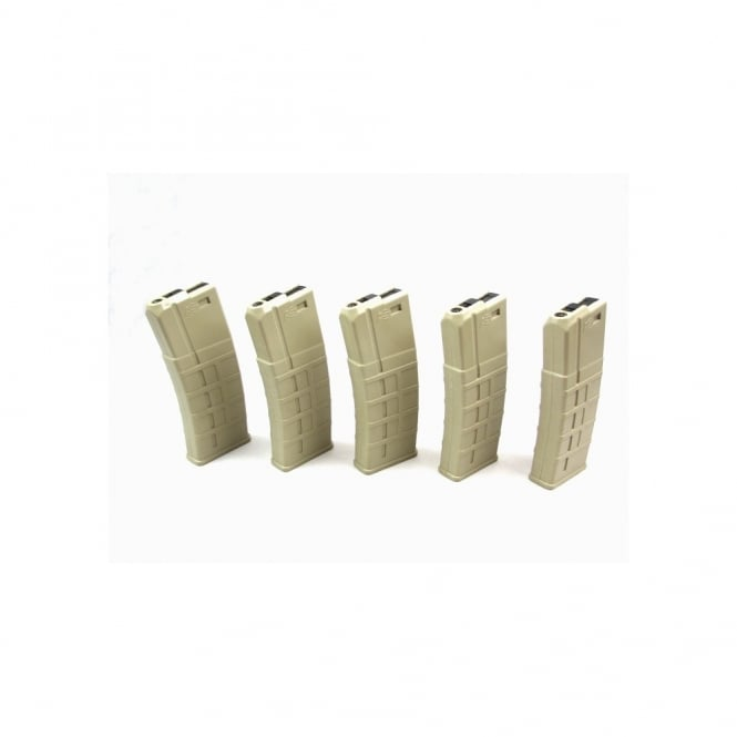 Airsoft Systems 85rds M4/M16 Polymer Magazine Box of 5 Desert Tan
