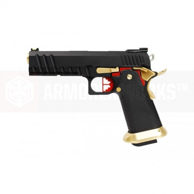 Armorer Works Custom Hi-Capa GBBP - Black Slide / Gold Barrel Full Auto