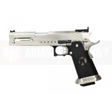 Armorer Works Custom Race Gun Hi-Capa GBBP - Dragon Silver Slide / Black Grips
