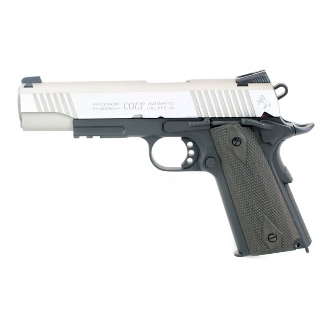 Cyber gun Colt 1911 Railed Gun Series CO2 Pistol - Silver slide