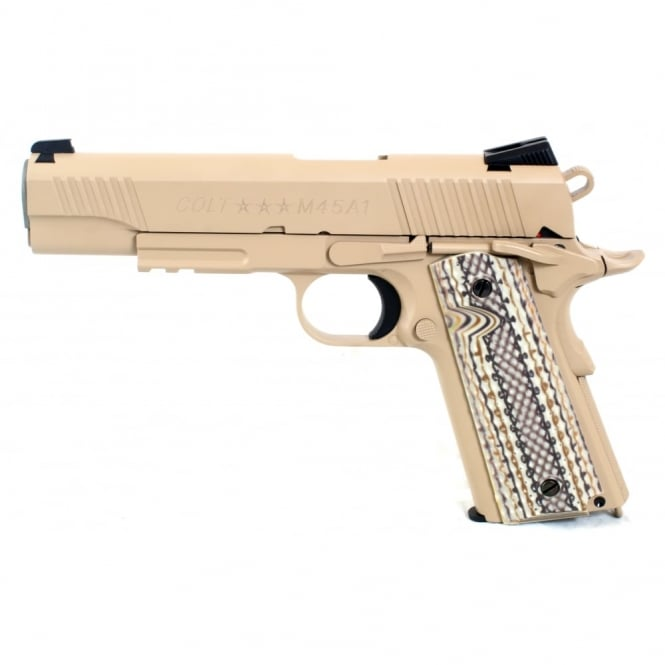 Cyber gun Colt M45 1911 Railed Gun Series CO2 Pistol - Tan