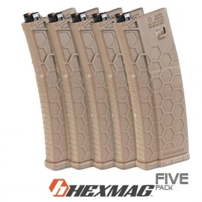 Dytac Hexmag 120 round Magazine PTW - 5 pack (Dark Earth)