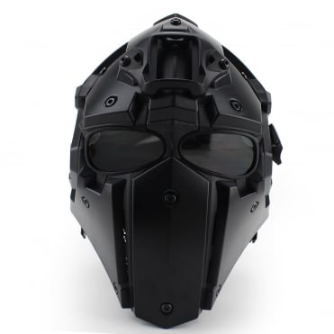 Full Face Helmet Black with Transparent Lenses