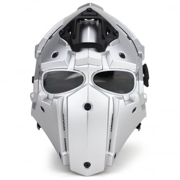 Full Face Helmet Silver with Black Lenses