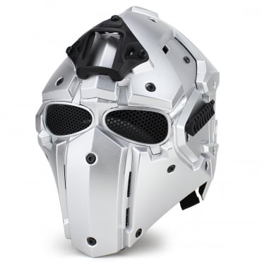 Full Face Helmet Silver with Mesh Lenses