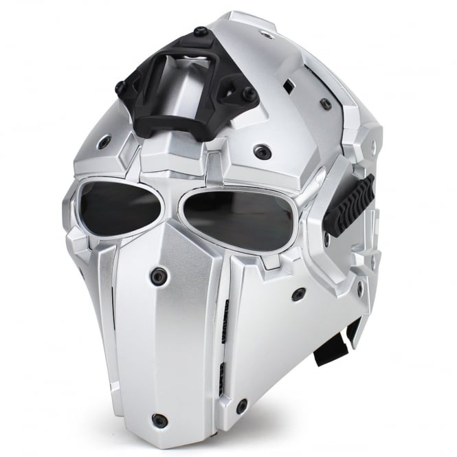 Full Face Helmet Silver with Transparent Lenses