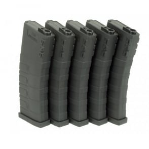 G&G 120 Mid Capacity Magazine Box of 5 (Black) GR16 / M4 with 420 Round Speed Loader