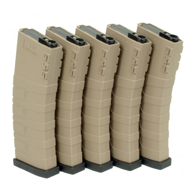 G&G Airsoft G&G 120 Mid Capacity Magazine Box of 5 (Tan/Black) GR16 / M4 with 420 Round Speed Loader