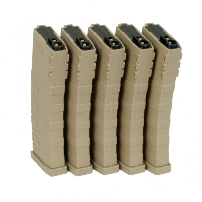 G&G Airsoft G&G 120 Mid Capacity Magazine Box of 5 (Tan) GR16 / M4 with 420 Round Speed Loader