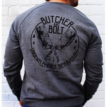Heavy Machine Gun Clothing Butcher & Bolt Ungentlemanly Behaviour Sweatshirt - Grey