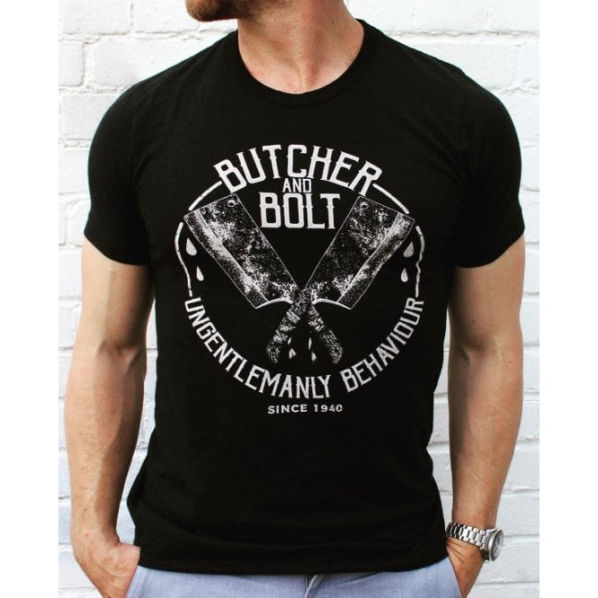 Heavy Machine Gun Clothing Butcher & Bolt Ungentlemanly Behaviour T-Shirt - Black