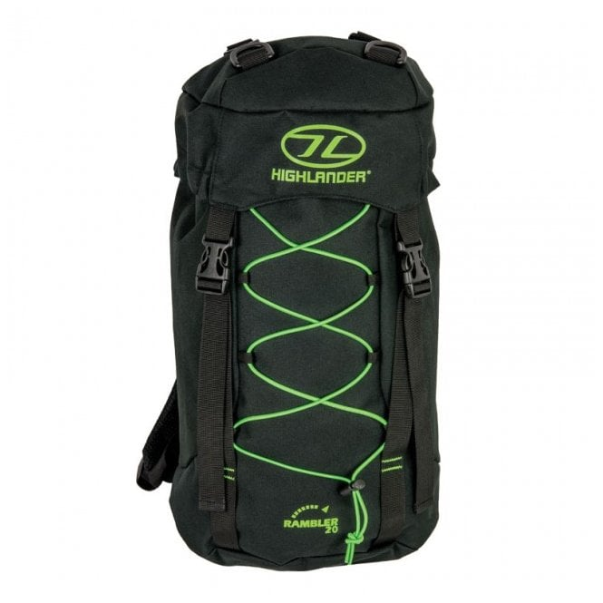 Highlander Outdoor Rambler 20 Rucksack - Black/Lime Green