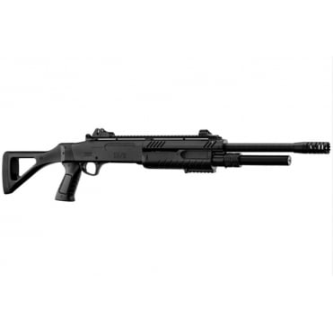 BO Manufacture FABARM STF12 Pump Action Tri-Shot Airsoft Shotgun - Full Stock Black