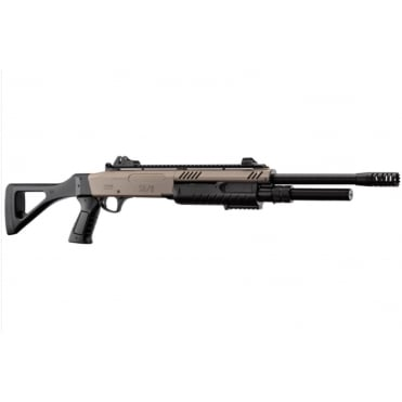 BO Manufacture FABARM STF12 Pump Action Tri-Shot Airsoft Shotgun - Full Stock Desert