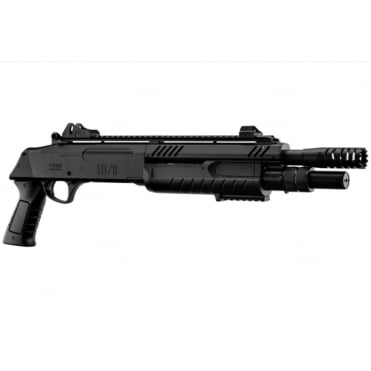 "BO Manufacture FABARM STF12 Pump Action Tri-Shot Airsoft Shotgun - Short Compact 11"" Barrel Black"