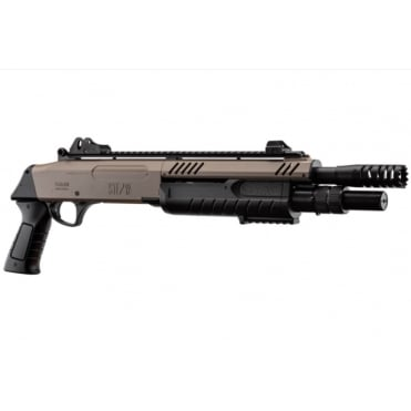 "BO Manufacture FABARM STF12 Pump Action Tri-Shot Airsoft Shotgun - Short Compact 11"" Barrel Desert"