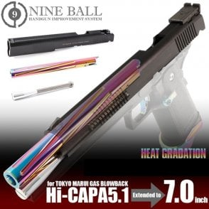 Laylax Nine Ball Neo 7inch Custom Slide & Heat Graduation Outer Barrel for Hi-Capa 5.1