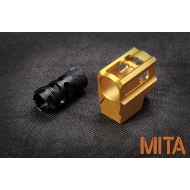 M.I.T. Airsoft T-Style Comp 14mm CCW - Gold/Black