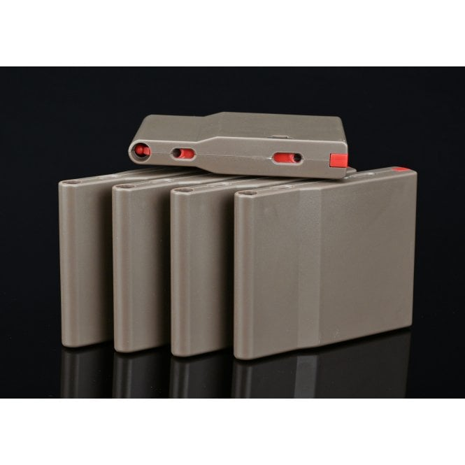 Silverback Airsoft SRS Polymer Magazine for A2/M2 Rifle - 25 Rounds/5 Pack - FDE