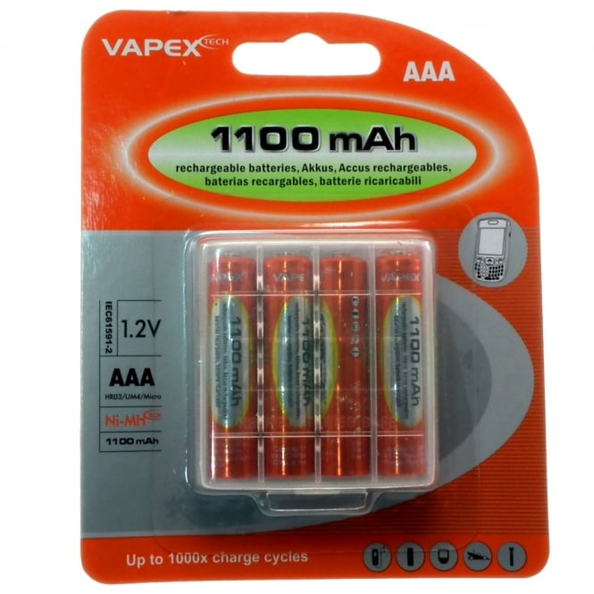 Highlander Outdoor Vapextech Rechargeable Ni-MH AAA Battery 4 Pack 1100mAh