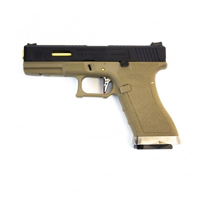 WE Airsoft Europe WE Airsoft E Force EU17 Tan Frame - Black Slide / Gold Barrel