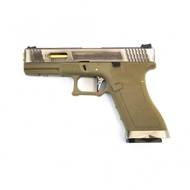 WE Airsoft Europe WE Airsoft E Force EU17 Tan Frame - Silver Slide / Gold Barrel
