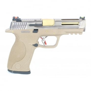 WE Airsoft Europe E Force Big Bird FDE Vented - Silver and Gold