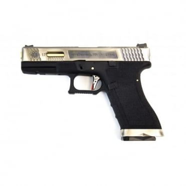 WE Airsoft E Force EU17 Black Frame - Silver Slide / Gold Barrel