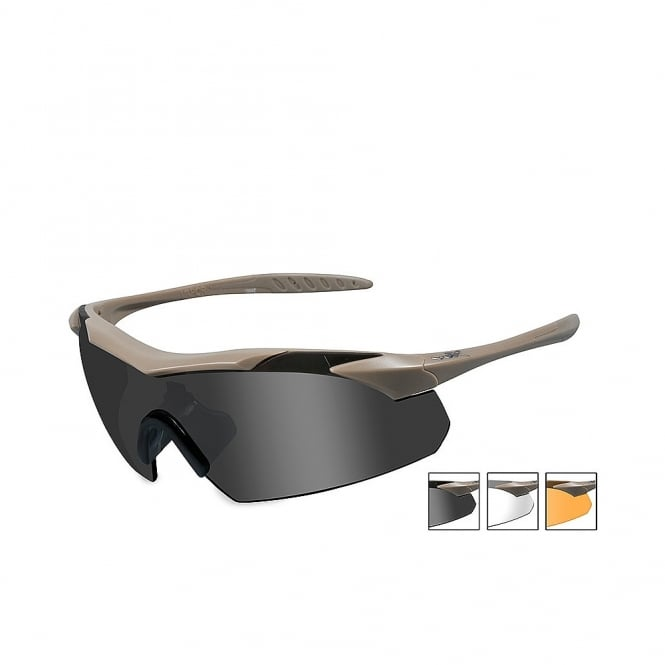 Wiley X WX VAPOR - Smoke Grey + Clear + Light Rust Lenses / Matte Tan Frame